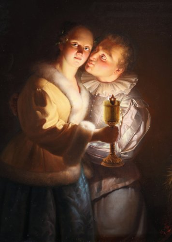 Young couple - Petrus Van Schendel (1806 - 1870) - Paintings & Drawings Style