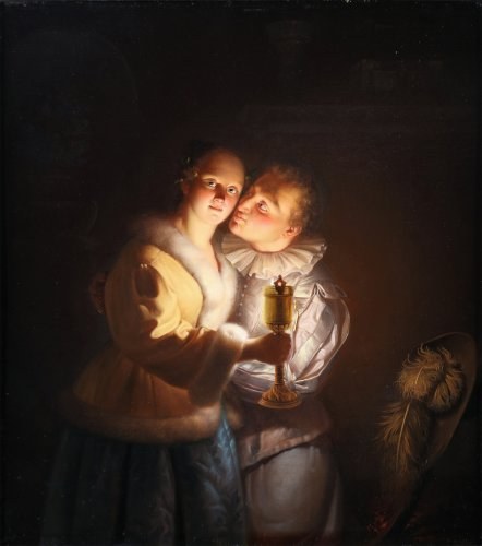 19th century - Young couple - Petrus Van Schendel (1806 - 1870)