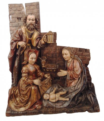 Adoration of the Christ Child - spanish school 16th century - Sculpture Style