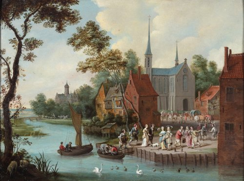 An animated village view, a river in front - Flemish school 17th century