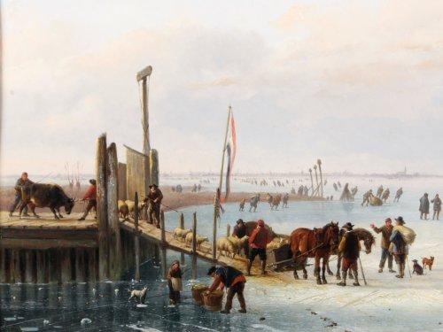Loading the cattle - Albert Roosenboom and Eugène Verboekchoven - Paintings & Drawings Style