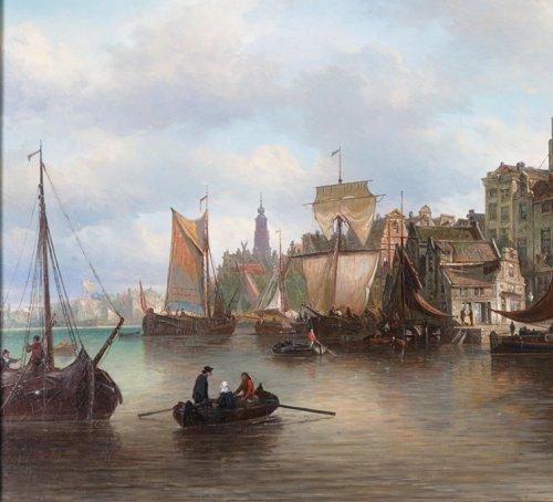 View of the Westerdok in Amsterdam - Elias Van Bommel (1819 -1890) - Paintings & Drawings Style