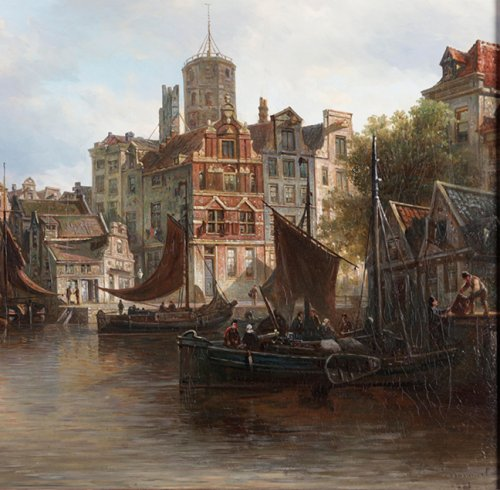 Paintings & Drawings  - View of the Westerdok in Amsterdam - Elias Van Bommel (1819 -1890)
