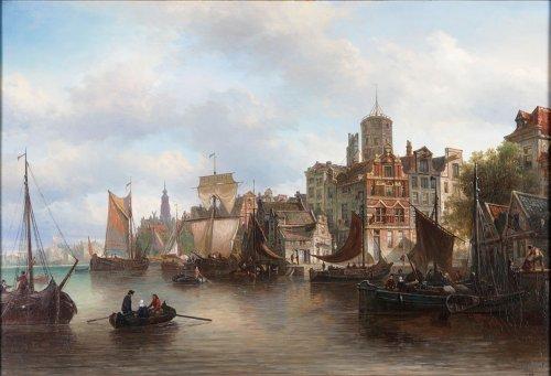 19th century - View of the Westerdok in Amsterdam - Elias Van Bommel (1819 -1890)