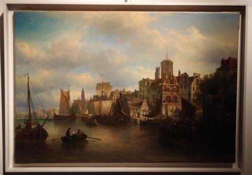 View of the Westerdok in Amsterdam - Elias Van Bommel (1819 -1890) -