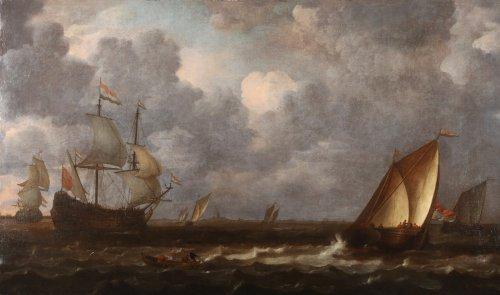 Ships at open sea  - Lieve Pietersz Verschuier (1630-1686)