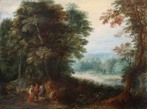 Animated landscape with travellers, a river beyond - Flemish school 17th century
