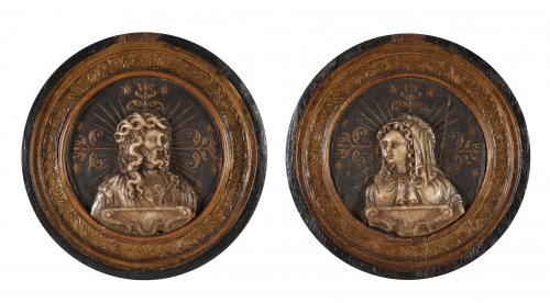 Malines. Pair of medallions with busts of Christ and The Virgin