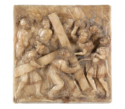 Christ carrying the cross on the way to Calvary, Alabaster 16th century