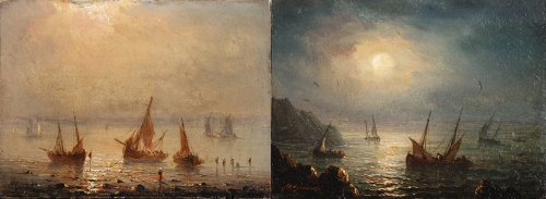 Coastal view at day and night - Henriette Gudin )1825 - 1876)