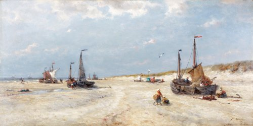On the beach at Katwijk - François Musin (1828 - 1888)