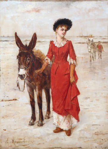 A donkey ride on the beach - Albert Roosenboom (1845 - 1873)