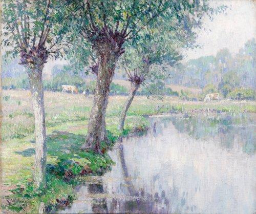 Cows grazing near a pond