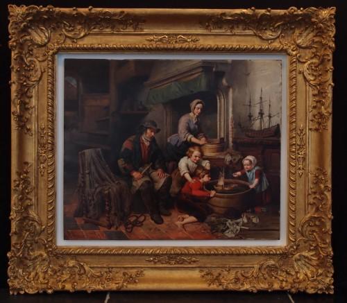 Joseph Ignace Van Hoey - Family time - Paintings & Drawings Style