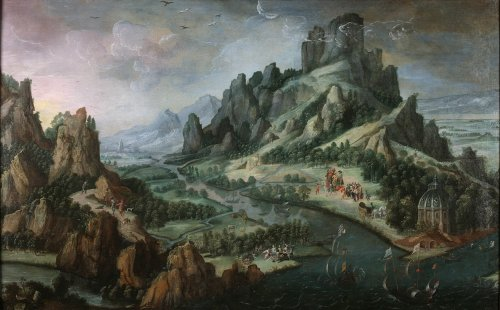Animated mountanous landscape - 17th C. Dutch school