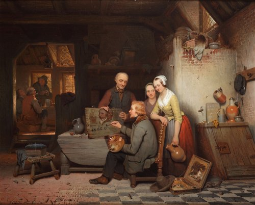 The painter at work in the inn - Célestin Marschouw