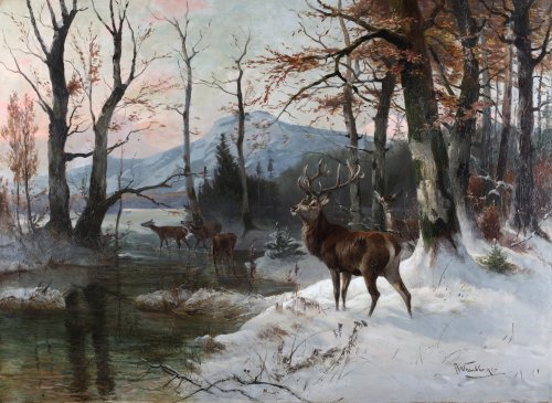Bucks and dears in a winter landscape