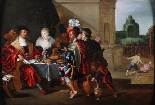 The rich man and Lazarus - Flemish school 17th century