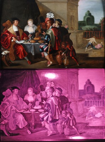 The rich man and Lazarus - Flemish school 17th century - Paintings & Drawings Style