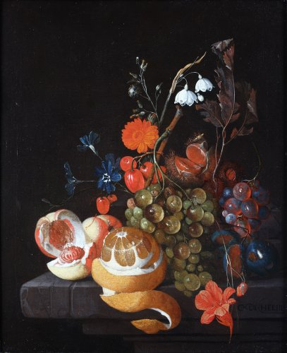 David Cornelisz. de Heem (1663-1718) - Still life with fruits on a stone table ledge