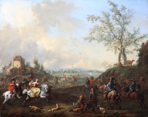 Pieter Wouwerman (Haarlem 1623-1682 Amsterdam) - La chasse aux faucons