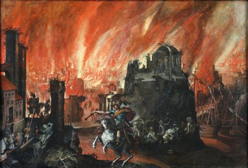 Alexander the Great conquers Tyrus and burns down the city - Flemish 17th c