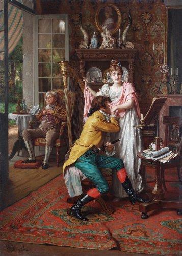 Ernest van de Kerckhove (Brussels 1840-1879 Brussels) - The Suitor