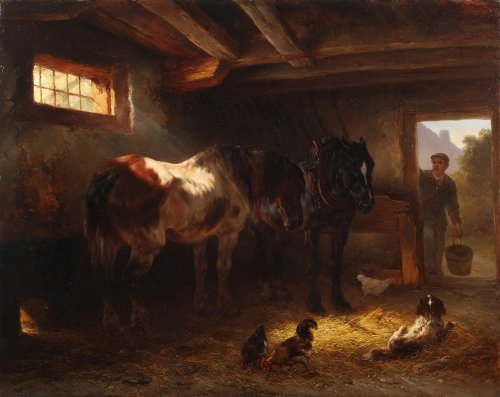 Wouterus Verschuur (1812 - 1874) - Horses in the stable
