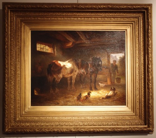 Wouterus Verschuur (1812 - 1874) - Horses in the stable - Paintings & Drawings Style