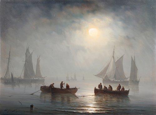 Henriette Gudin (1825-1876) - Fishing under moonlight