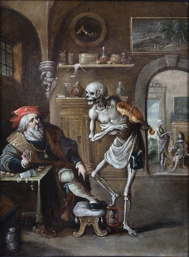 Frans Francken II (Antwerp 1581 - 1642 Antwerp) Death and the Miser