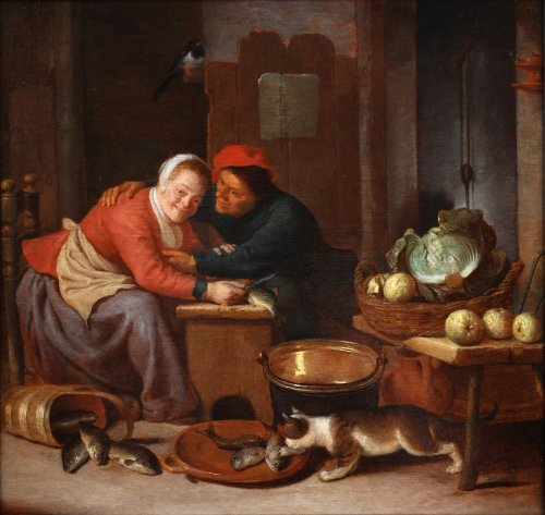Attributed to Hendrick Martensz. Sorgh (1611-1670) - Cleaning the fish