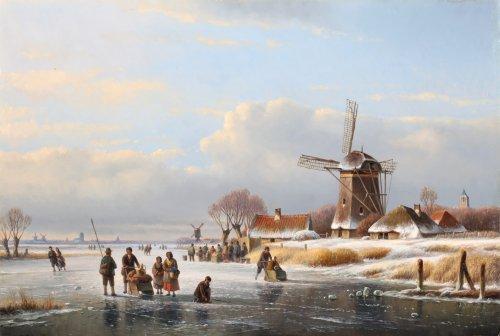 Joannes Lodewijk Kleyn (1817 - 1897)  - A winter landscape with 'koek and zopie'