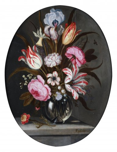 Abraham Bosschaert (1612-1639) - A bouquet of flowers in a glass vase