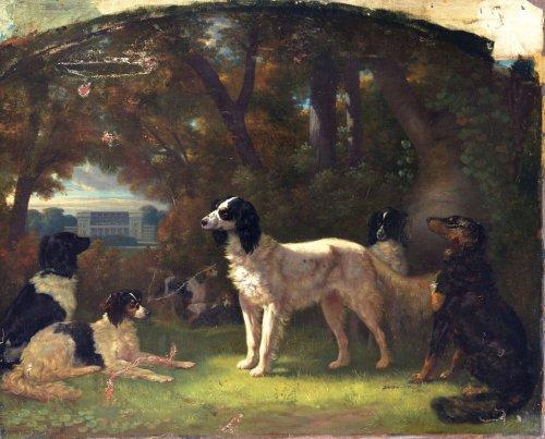 Henri d'Ainecy, comte de Montpezat - A gathering of dogs before the castle