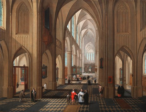 Pieter Neefs I (Antwerp 1578-1656 Antwerp)  - An animated church interior