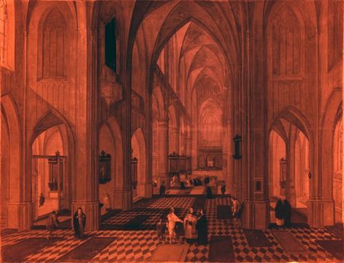 Paintings & Drawings  - Pieter Neefs I (Antwerp 1578-1656 Antwerp)  - An animated church interior