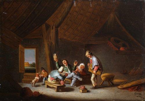 Cornelis Mahu (Antwerp 1613-1689) - Merry-making at the inn