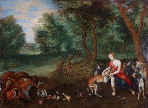 Diana returning from the hunt - Follower of Jan Brueghel II and Hendrik van Balen