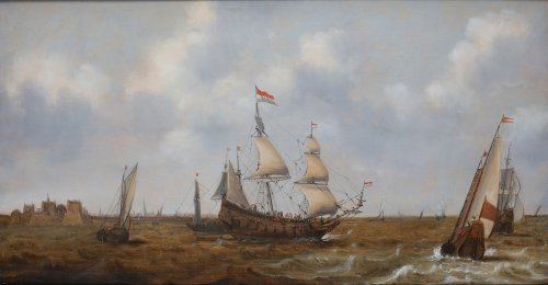 Claes Claesz. Wou (1592-1665)  - Ships before Fort Rammekens
