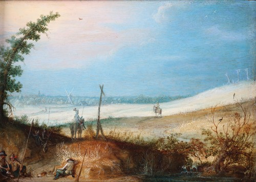 Christoffel van den Berghe (1590 - 1645)  - Landscape with resting travellers and a horseman