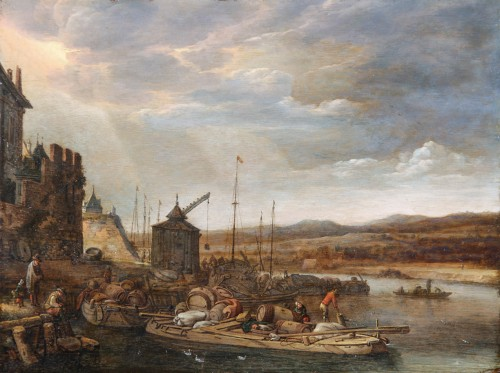 Herman Saftleven (1609 - 1685) An animated harbor view