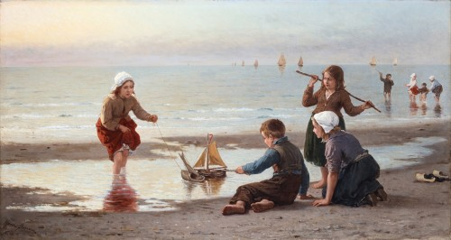 Children on the beach - Henri Bource (1826-1899)