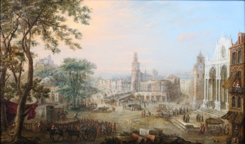 Charles Leopold Grevenbroeck  (1730 - 1759) - An animated town view