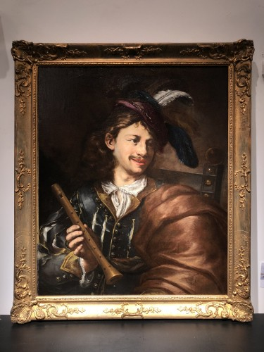 The Flute Player - Italian School of the 17th Century - Paintings & Drawings Style