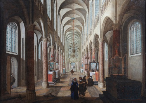 Church interior - Flemish School, 17th century