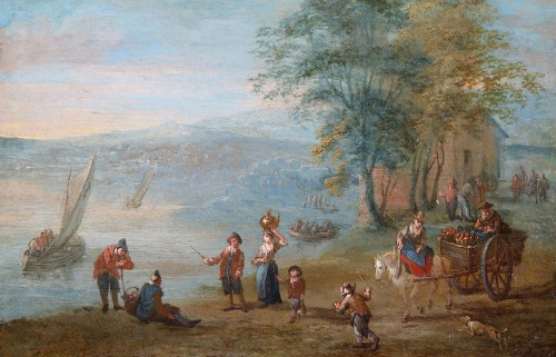 A lively village by the river - Attributed to Matthijs Schoevaerts