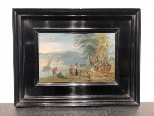 A lively village by the river - Attributed to Matthijs Schoevaerts - Paintings & Drawings Style