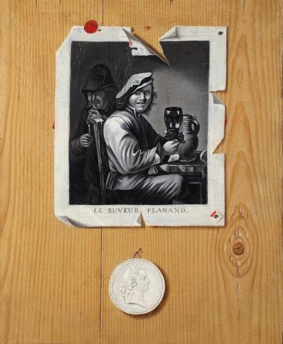 The Flemish drinker - Trompe l'oeil circa 1700