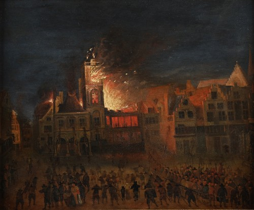 Attributed to Gerrit Lundens - Fire at Amsterdam City Hall in 1654